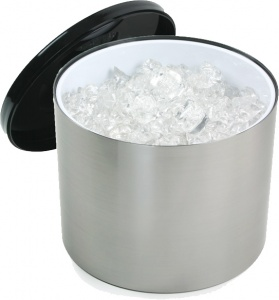 Large 12.5 Litre Round Ice Bucket Brushed Aluminium Metal Effect Pub Bars UK